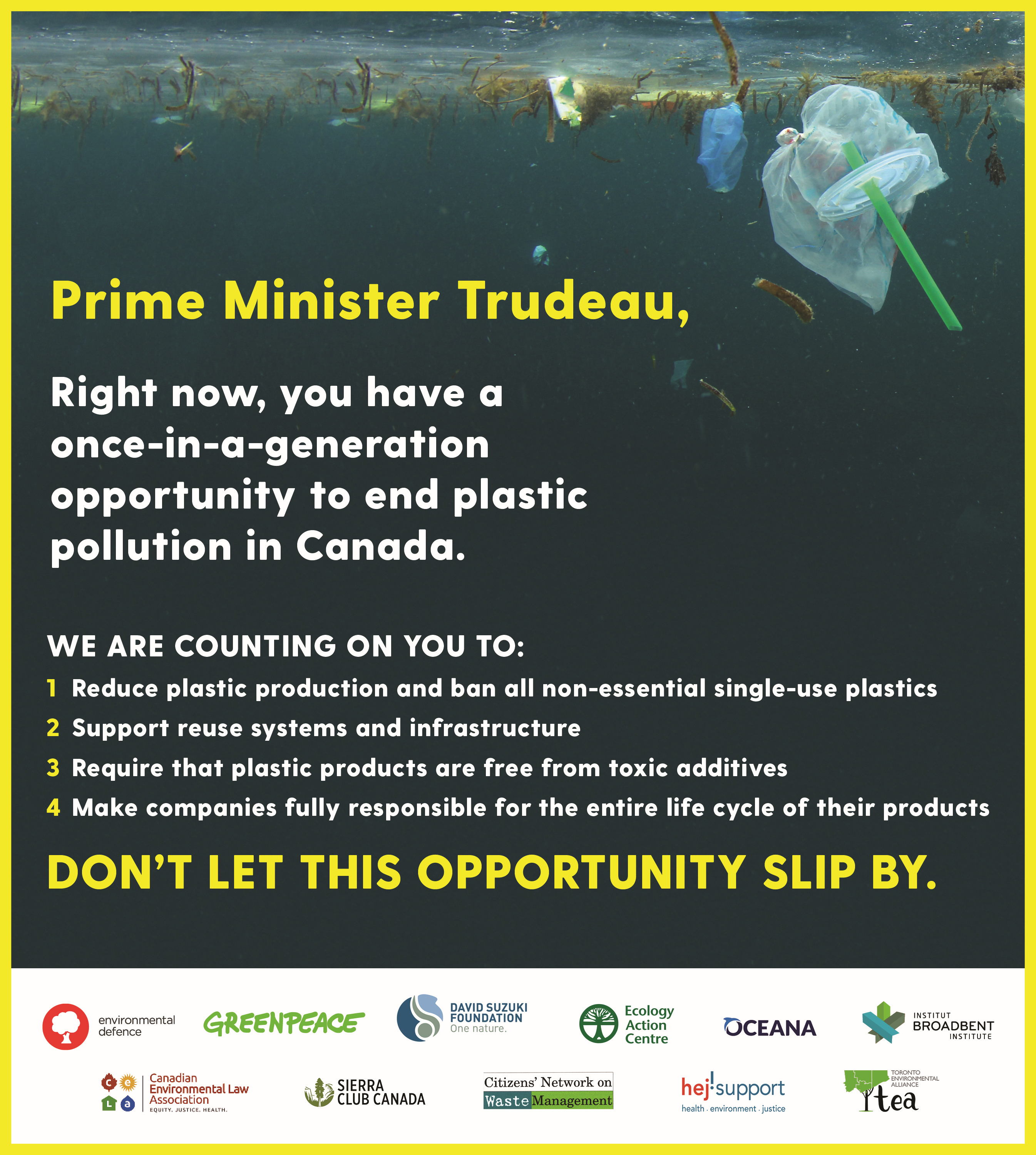 NGOs call on Prime Minister Trudeau to end plastic pollution in Canada