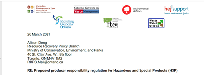 NGO comments to the Regulation for  Hazardous and Special Products